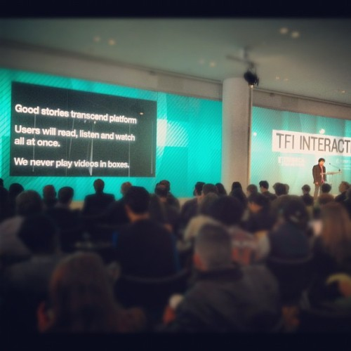 "Interactive storytelling rockstar Loc Dao on stage at #tfii: ""Good stories transcend platform."" (Taken with Instagram at IAC)"