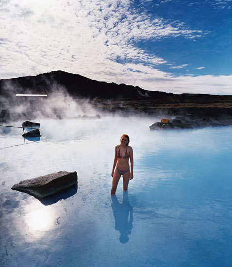 Myvatn Nature Baths, Iceland The Lake Mývatn region is one of Iceland's most geologically active. The area is dotted with volcanic craters and bubbling mud pits and is one of the most-visited areas outside of Reykjavik. One of the most-popular attractions in the region is the Mývatn Nature Baths, one of Iceland's newest geothermal spas. Opened in 2004, the Mývatn Nature Baths, are similar to the more famous Blue Lagoon of Reykjavik. Created from the run-off of a geothermal power-plant, the baths contain bright blue steaming water that comes from deep under the earth and contains a high level of silica. In addition to the main lagoon, the baths offer hot pots (hot tubs), natural steam baths, relaxation areas, and a cafe and small shop. In summer, the baths are open from 9am to midnight; in winter hours are noon to 10pm. Entrance is prohibited 30 minutes from closing. Adult admission is 2000 ISK with an additional 400 each for bathing suite or towel rental and 700 kronur for a robe rental.
