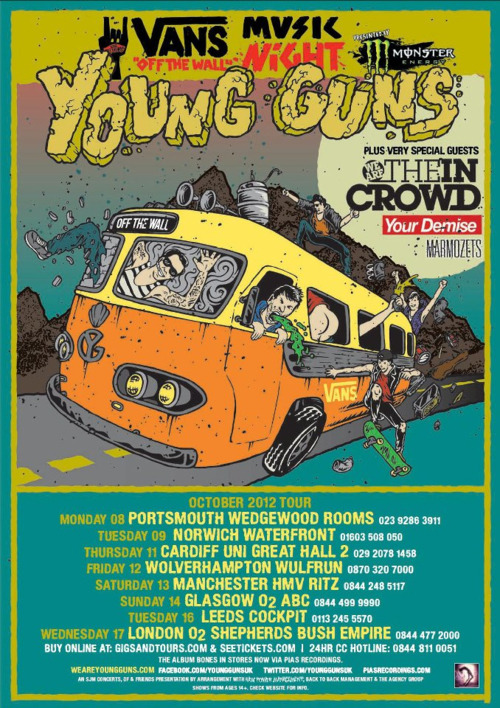 We Are The In Crowd, Your Demise & Marmozets will be supporting Young Guns on their UK tour in October, you can check out an updated tour poster right here!