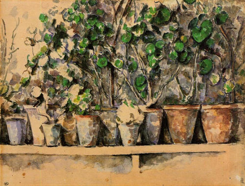 paulcezanne:  Flower Pots, c.1887Бумага, акварель.Musee d'Orsay, Paris, France