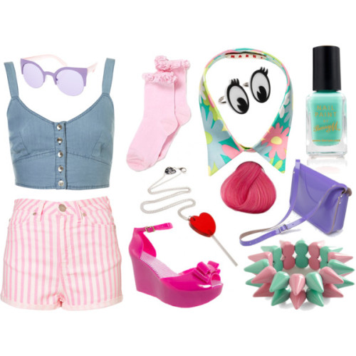 Ice-Cream Truck by katy-kamikaze featuring ASOS sunglassesShorts, $64Petite Soft Denim Bralet, $48Sandals, £22Shoulder bag, $190Marni jewelry, $210Necklace, £30Ring, £30Bracelet, $30ASOS sunglasses, $27Barry M nail polish, £2.99Crochet Trim Socks Girls George at Asda, £4