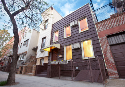 Here is an exterior shot of a new townhouse I am listing in Williamsburg in Brooklyn at 94 Jackson Street. I was really excited about photographing this house because I thought the brown siding would contrast really nicely with the warm interior lights - and I think it did! This is a combination of 3 exposures. The first was taken to capture the sky about an hour before sunset, the second exposure was set to get the actual exterior of the houses just before sunset, and the final was taken when it was dark to get the interiors without any glare.