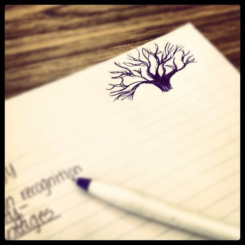 "#doodle I have a weird obsession with trees. My class ""notes"". (Taken with instagram)"