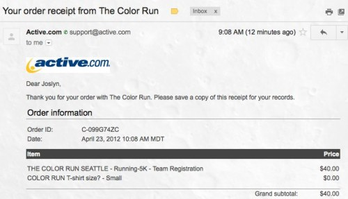 "Just registered for Seattle's Color Run! It sold out in record time. This is my first ""official"" sort of race. Awwww yeeeah."