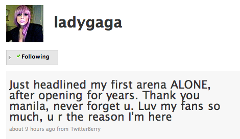 Lady Gaga's tweet after performing for The Fame Ball in Manila back in 2009.