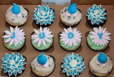 Birthday Message Cupcakes w/ Daisy and Crysthanamum Flowers, and Rain Drops! by cushycakes on Flickr.