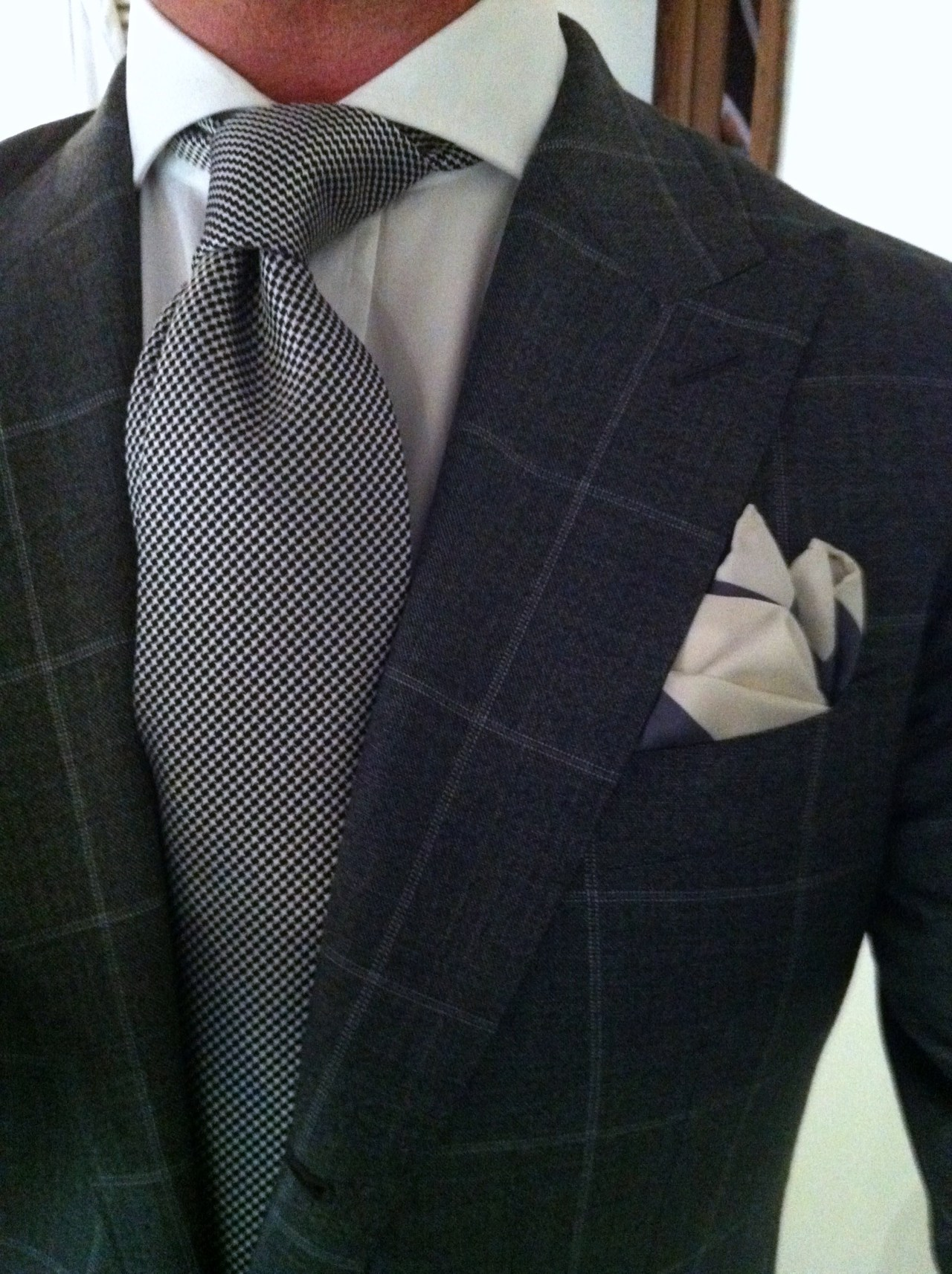 #DressWell thesnobreport:  WIWT - medium gray with white windowpane Washington from Suitsupply