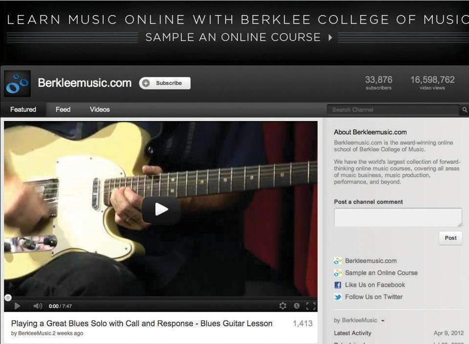 "Berklee College of Music becomes a YouTube star  - On Monday, Google named Berklee as one of nine ""YouTube ambassadors,"" organizations that have been particularly effective at using the site to reach new customers."