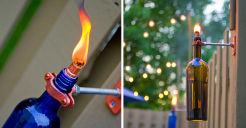craftjunkie:  Wine Bottle Torch {How to} Found at: gerardotandco