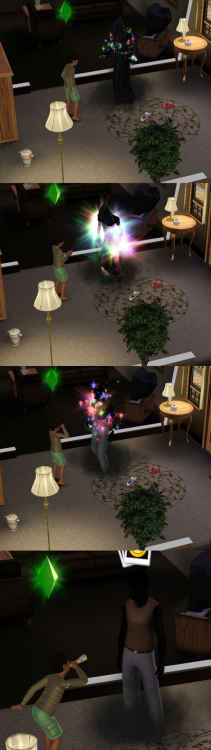 simsgonewrong:  Okay so I was playing on this household and the elderly woman dies, the grim reaper comes and she goes into an urn but then it's suddenly the grim reapers birthday and the old woman's kid just starts celebrating, then the grim reaper turns into some severely black dude wearing a beige tank top and goes in the living room to watch the cooking channel. Seems legit.
