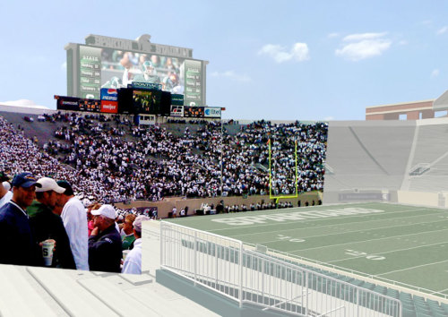 The new Michigan State scoreboard in Spartan Stadium is like 10x bigger than the old one! Love it.