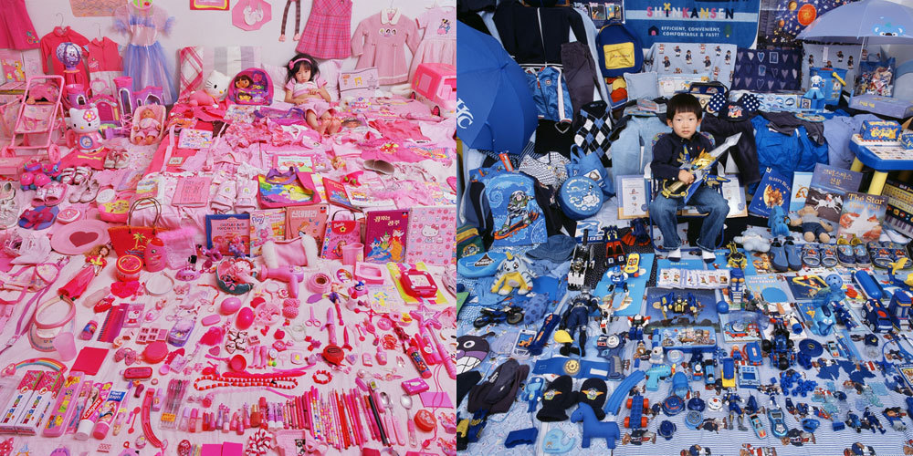 "Girls = pink, Boys = blue. JeongMee Yoon's ""The Pink & Blue Project"" shows how powerful this association has become. See more here."