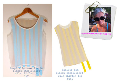 DIY Phillip Lim Ribbon Embellished Silk Chiffon Top. Just gorgeous. I love posting tutorials from inspiration & realisation because I know she knows how to sew and construct garments correctly. Tutorial for this top is from inspiration & realisation here.