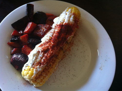 Lunch. Elote style corn on the cob. I 'grilled' it in my cast iron grill pan, used greek yogurt instead of mayonnaise, sprinkled it with garlic powder, salt, pepper and smoked paprika. And I sauteed some sweet potato and beets in coconut oil with salt and cinnamon on the side.