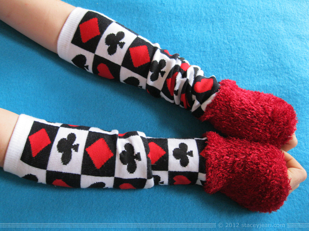 Arm Warmer - upcycled from sock parts - Red Queen Card Suits Fuzzy