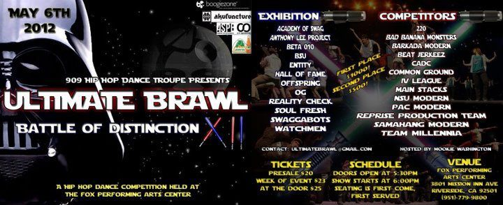 himez:  ULTIMATE BRAWL: BATTLE OF DISTINCTION SUNDAY MAY 6, 2012 DOORS OPEN 5:30 PM, SHOW STARTS AT 6:00PMPRESALE: $20, AT THE DOOR $25 FOX PERFORMING ARTS CENTERRIVERSIDE, CA SUPPORT IV LEAGUE !!! WOOO EXCITED FOR OUR NEW SET LESSSSGO!