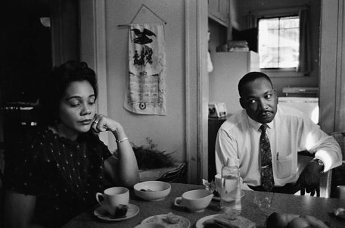 "In this photograph, Coretta is upset with her husband, who had been attacked the night before by a disturbed white racist but had not defended himself. Though the police urged King to press charges, he refused. ""The system we live under creates people such as this youth,"" he said. ""I'm not interested in pressing charges. I'm interested in changing the kind of system that produces such men."""