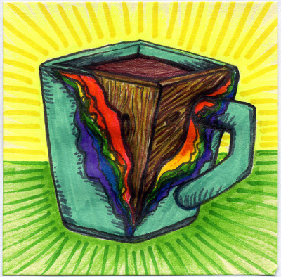 "I drew you a paper covered wood mug of coffee It's a rectangle mug that is made of wood and covered in colorful papers. However the paper has started to peel away layer by layer at the corner. This artsy mug was inspired by this photograph.  Hope you like it. This is part of my ""The Daily Coffee"" marker drawing series."