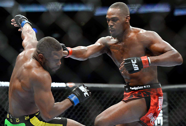 Jon Jones lands a right hand on former training partner and friend Rashad Evans during Saturday night's main event of UFC 145 in Atlanta. Jones won by unanimous decision and will likely face Dan Henderson in his next fight. (Carlos Saavedra/SI) GALLERY: UFC 145 - Jon Jones v. Rashad EvansWAGENHEIM: Bones shows he's the man in defeating EvansGRAHAM: Jones dominant in win over former training partner  Carlos M. Saavedra/SI