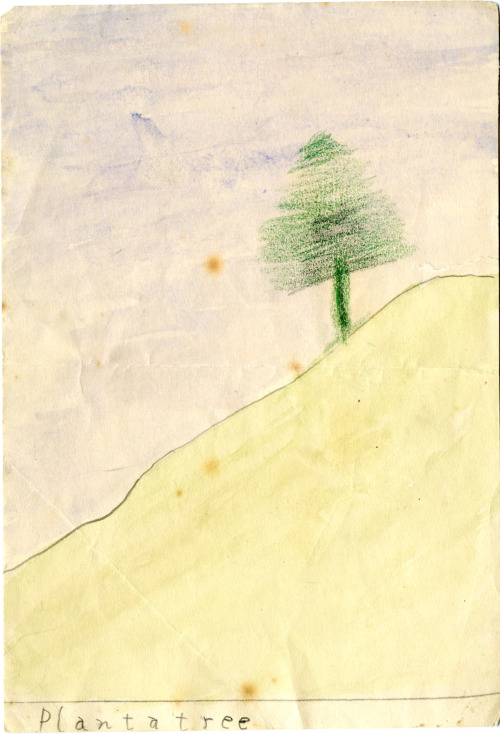 "We're a little late for Earth Day, but we had to post this picture JFK drew as a young boy. Found in Rose Fitzgerald Kennedy's personal papers, this image features a tree on a hill with the words ""Plant a tree"" at the bottom. JFK's childhood signature is scribbled on the back."