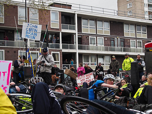 "Cyclist ""die-in"" outside the offices of London's biggest minicab company, Addison Lee, in response to their chief executive, John Griffin's, comments that cyclists are to blame for road traffic accidents and that they should be expected to pay ""road tax"". Feel free to send obvious rebuttals directly, @AddisonLeeCabs. Full story here and here. Photo by Matthew Shaw."