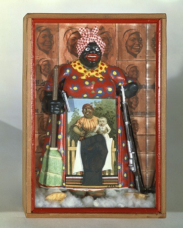 "The art: Betye Saar, The Liberation of Aunt Jemima, 1972. The news: ""New Racism Museum Reveals the Ugly Truth Behind Aunt Jemima,"" by Jennie Rothenberg Gritz for TheAtlantic.com. The source: Collection of the Berkeley Art Museum, Berkeley, Calif."
