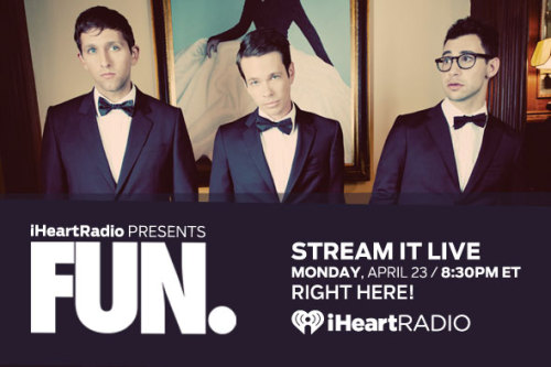 fbrstreetteam:  Click HERE to watch a live stream of Fun. on iHeartRadio! Then, tune in to CBS tonight and see Fun perform 'We Are Young' on The Late Show with David Letterman starting at 11:35pm EST! It's a big night for Fun.  Spread the word!