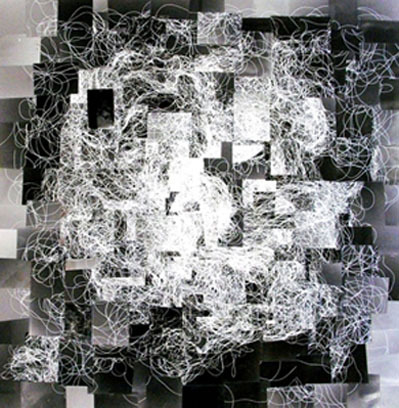 This is a collage of photograms of string. 2010.