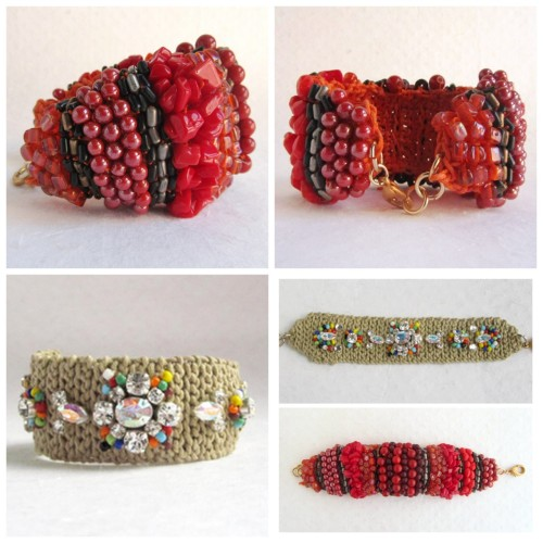 truebluemeandyou:  DIY Crochet and Bead Bracelet. If you read my blog, you know one of the few crafts I haven't attempted is crocheting, but I think I could knit this doing the seed stitch to get enough of a base for this easy project. Top Photo: Tutorial from  el cuaderno de ideas here. Bottom Photo: Tutorial from el cuaderno de ideas here.