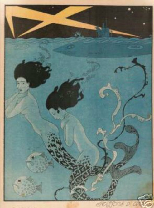 Deco Mermaid Illustration WW1 Submarines