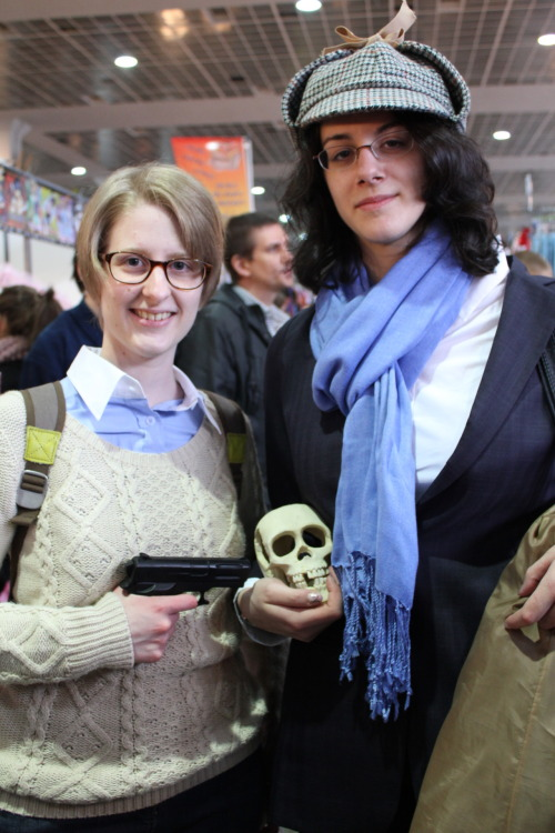 Cosplay: My friend Anne (Sherlock), me (John), Skullfriend from Crazydestruction, and pictures from Nekoxdei ! In MIA 4, Brussels, Belgium ~2012