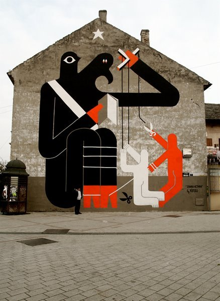 The Only Truth by Remed  mural from 2009 in Novi Sad, Vojvodina [ City authorities financed this project back then and now they want to repaint it without any reason, except for… well it's election year so they want to fuck up everything before they go, dunno, but it makes me sad…]