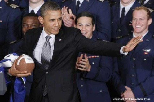 Obama strikes the Heisman post on Monday …