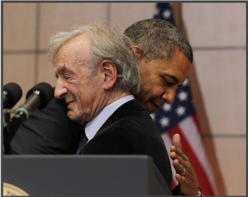 "con-tem-plate:  President Obama hugs Nobel Peace Prize laureate and Holocaust survivor Elie Wiesel before he speaks at the Holocaust Museum in Washington, DC on April 23. ""… Lest You Forget The Things Your Eyes Saw… """