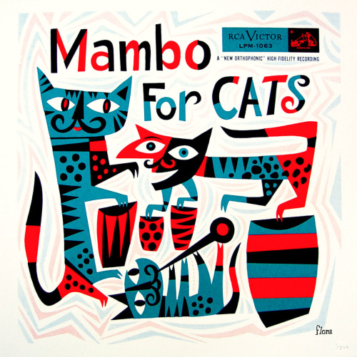 Album cover design by Jim Flora published in 1955.  Jim Flora was a well known illustrator for Columbia Records and RCA Victor in the 1940s-1950s. (Via ModernCat)