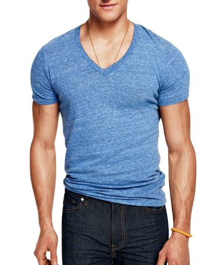 The Only Eight Tees You Need: The V-Neck A good V hits well below your Adam's apple and well above that strapping chest of yours. See the rest here.