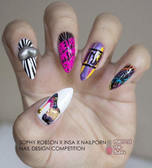 "MY FIRST OF 2 ENTRIES FOR THE SOPHY ROBSON X INSA X NAILPORN NAIL DESIGN COMPETITION Woohoo NailPorn featured my entries on their Facebook page ""Best of INSA X SOPHY ROBSON competition entries"" Check it out HERE.  I'll post my second entry soon or you can see it on NailPorn's FB page.  INSA's work is the TRUTH, I had too much fun doing these designs."