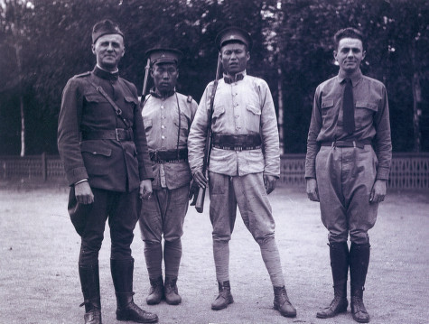 "Major Charles M. Winter and Ed Winter in northeast China, 1919. Charles Winter of Stone Lake, Wisconsin (at left) and his son Ed (at right) served in the 339th Infantry in northern Russia over the winter of 1918-1919. The 339th, nicknamed the ""Polar Bears"" and ""Detroit's Own"" (due to the large number of Michiganders serving in the division), were ostensibly in Russia to help prevent a German advance. However,  they remained there for several months after the official end of World War I, fighting Bolshevik revolutionaries in what author John Evangelist Walsh calls ""one of the most fumbling foreign policy actions in our history."" The Winters traveled through China after what came to be known as the Polar Bear Expedition. Glass negatives from the Stone Lake Area Historical Society show father and son posing in front of landmarks in Beijing and in rural northeastern China. After returning to Wisconsin, Charles Winter developed a fishing camp on Big Sissabagama Lake in Sawyer County. via: Stone Lake Area Historical Society read more: John Evangelist Walsh, ""The strange, sad death of Sergeant Kenney: a personal history of heroism and loss during America's Russian intervention of 1918-19,"" Wisconsin Magazine of History 85:2 (2001-2001); Polar Bear Expedition Digital Collections, Bentley Historical Library, University of Michigan"