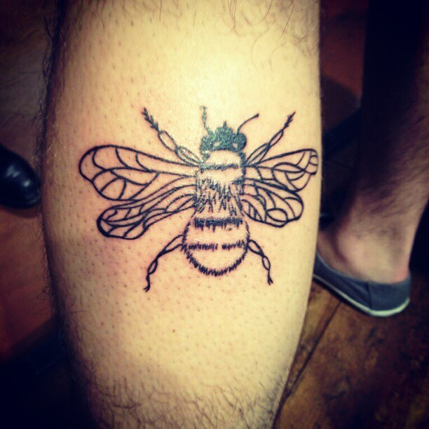 "fuckyeahtattoos:  This is a Bumble Bee tattoo that my Brother got! One day I was bored and was doodling and I drew this bee, it came out pretty good so I snapped a photo and posted it on instagram and within 5 minutes my Bro texted me and said ""Hey send me that picture of the bee! I want it as a tattoo!"" later that night around 11:30 I get a call saying he was getting it done! I was so stoked, my own art on someones body! HOW RAD!"