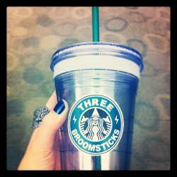 Customized my Starbucks to-go cup with a Three Broomsticks graphic! Obsessed. (Taken with instagram)