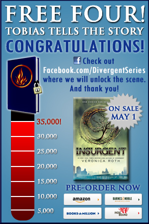 epicreads:  FREE FOUR is available now on Facebook! http://divergent.pgtb.me/cQlP #DivergentNation @veronicaroth Hear Tobias's side of the story!   Divergent Nation, we did it. We reached 35,000 preorders of INSURGENT, and we freed Four! Now, here's a never-before-seen piece from #1 New York Times bestselling author Veronica Roth: a pivotal scene from DIVERGENT told from Four's point of view.Read it. Love it. Share it with your friends.
