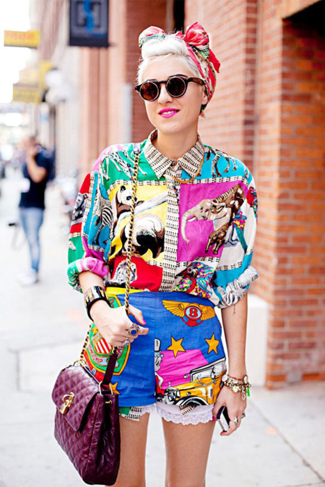 Wonderful & bright! Pop art alert! We love the layering, mixed prints, and layered jewels in this outfit!