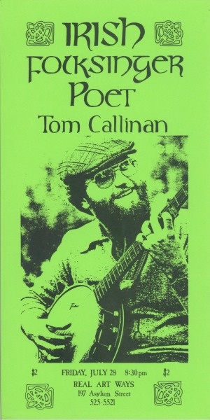 Irish Folksinger Poet Tom Callinan Friday, July 28, 1978 8.5 x 17""