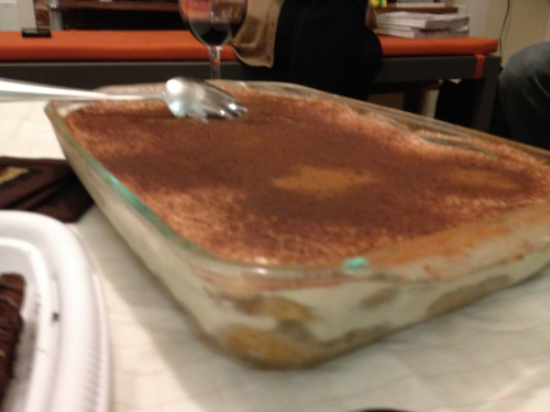 More weekend deliciousness: a giant (if blurrily photographed) tiramisu — recipe courtesy my father-in-law — that went quite well with the double-chocolate biscotti at last night's potluck.