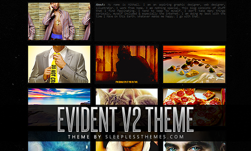 Evident V2: Theme Code | Preview | InstallThree column of posts. This theme is the exact same as version 1 but with bigger posts. You can change all of the colors to whatever you want, add custom links, upload header image & upload a custom background. You also have the option to turn infinite scroll on or off. Enjoy. For more themes click here.