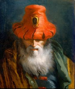 TIEPOLO DOMENICO Head of a Philosopher with a Red Hat Oil on canvas 60.6 x 50.9 cm