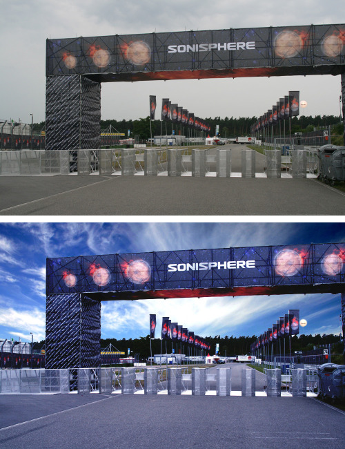 Sonisphere Germany in 2009 - Designed this entrance portal & flags and wasn't going to get the miserable weather get in the way of what is looked like. Ahhh Potatoeshop