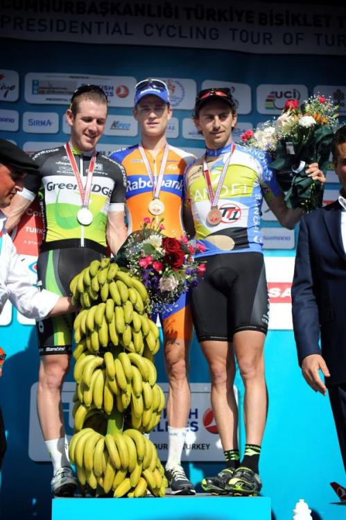 Tour of Turkey 2012 | Stage 1 Bananas for Bos! The Tour of Turkey always does a fine line in fruit-related podium prizes.  Photo: © Roberto Bettini (via Presidential Cycling Tour Of Turkey 2012: Turkey Stage 1 Podium, Photos | Cyclingnews.com)