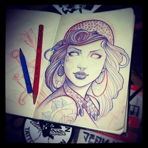 Jean Le Roux - started drawing this at the tattoo studio today, gonna turn this into a painting soon… * FOLLOW * (Taken with instagram)