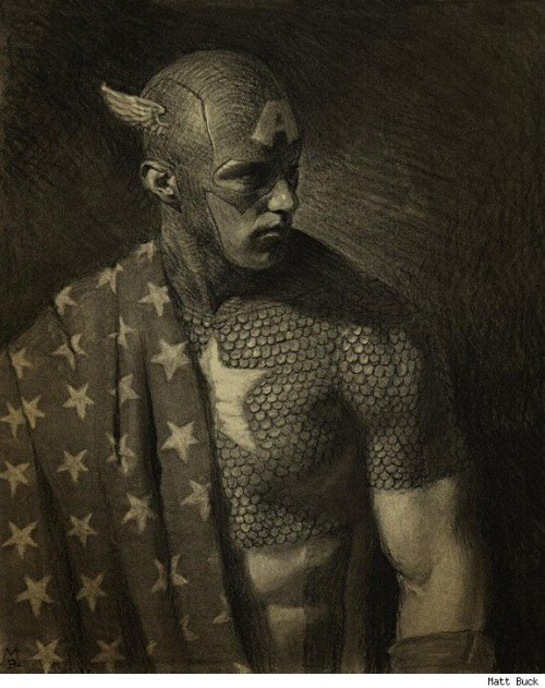 Captain America by ~deadhead16mb This was produced in charcoal & photoshop.Artist Matt Buck can be found on Deviant art,working in a photo realist-y style(sometimes). I guess I just like this,that is all.